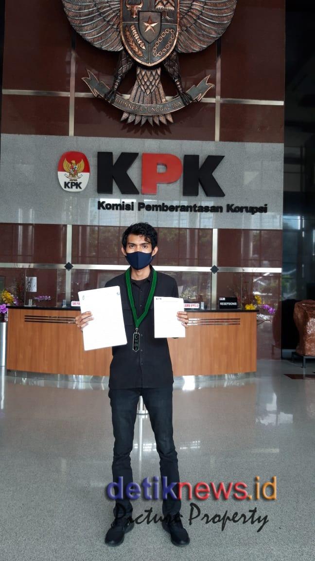 Foto : Ahmad Syahirul Alim, SH (Wakil Direktur Bakornas LKBHMI PB HMI) saat melapor ke gedung KPK